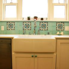 Mediterranean Kitchen With Blue Backsplash