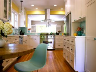 Yellow Transitional Kitchen With Teal Backsplash