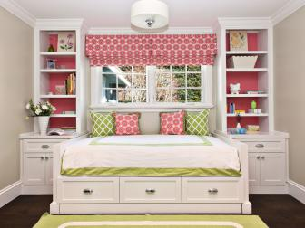 Kid's Traditional Pink and White Bedroom