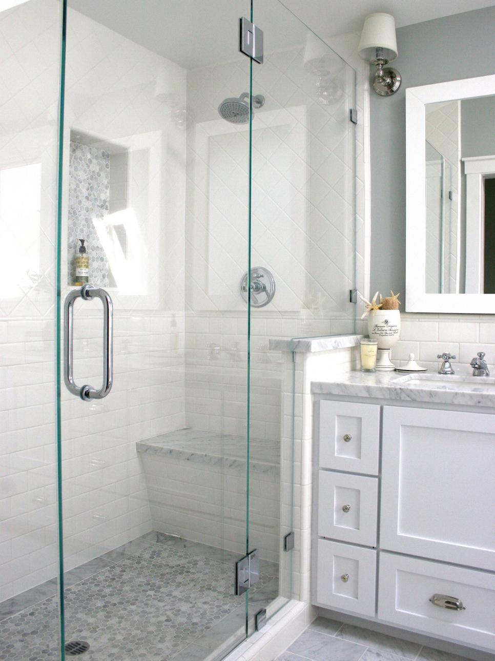tiled walkin shower in contemporary bathroom  hgtv