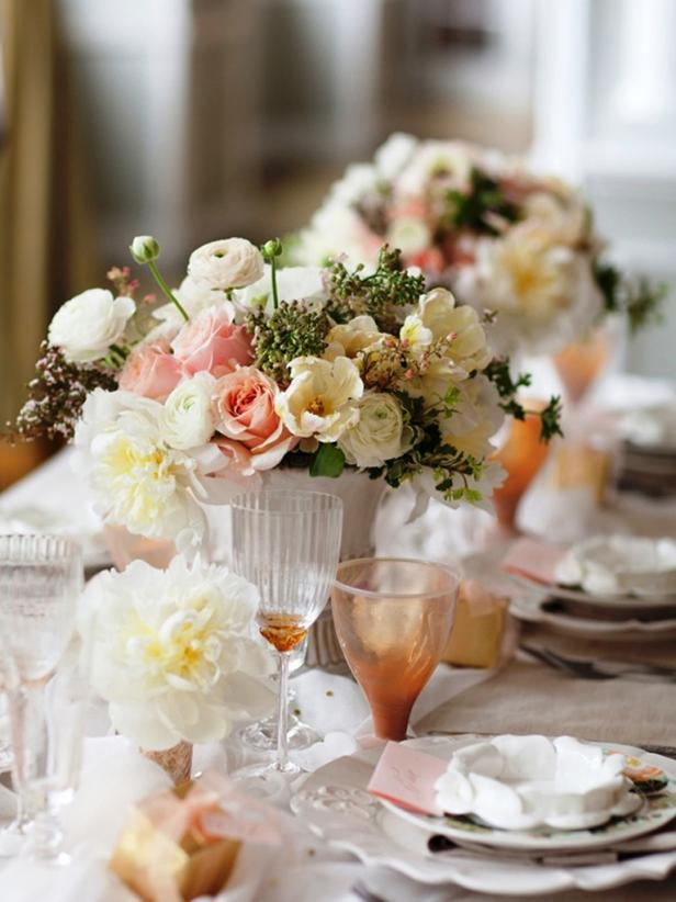 Cream and Peach Floral Centerpieces