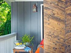 Use basic home improvement store materials to add designer-grade privacy and graphic impact to an outdoor space.