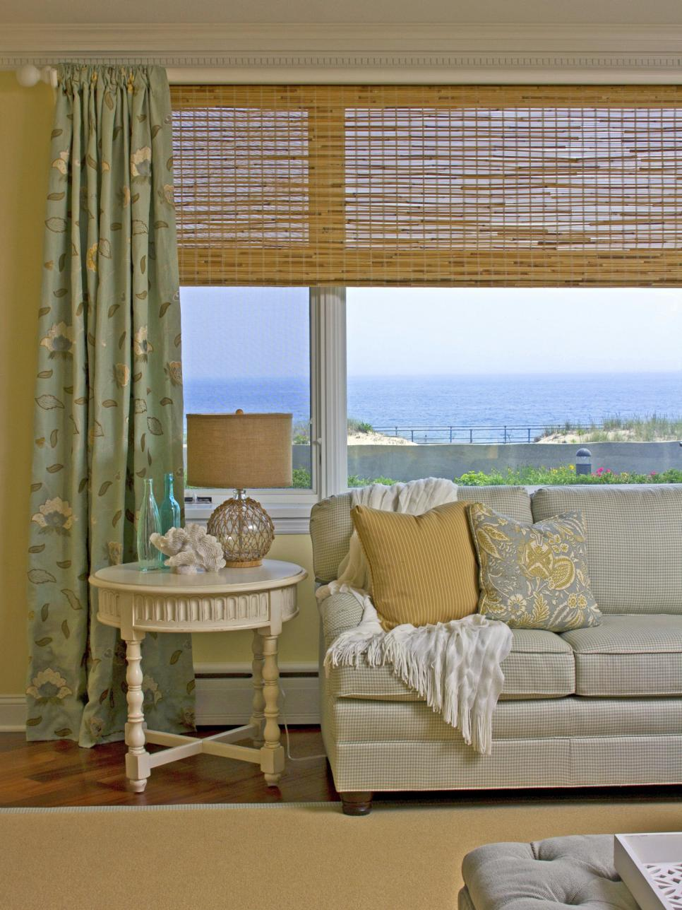 Coastal Living Room With Bamboo Window Treatment