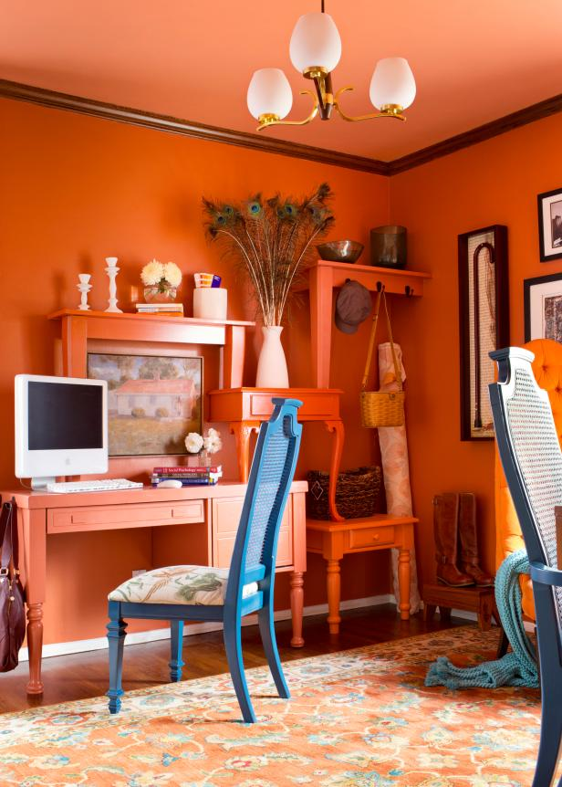Eclectic Home Office in Orange with Unusual Shelving