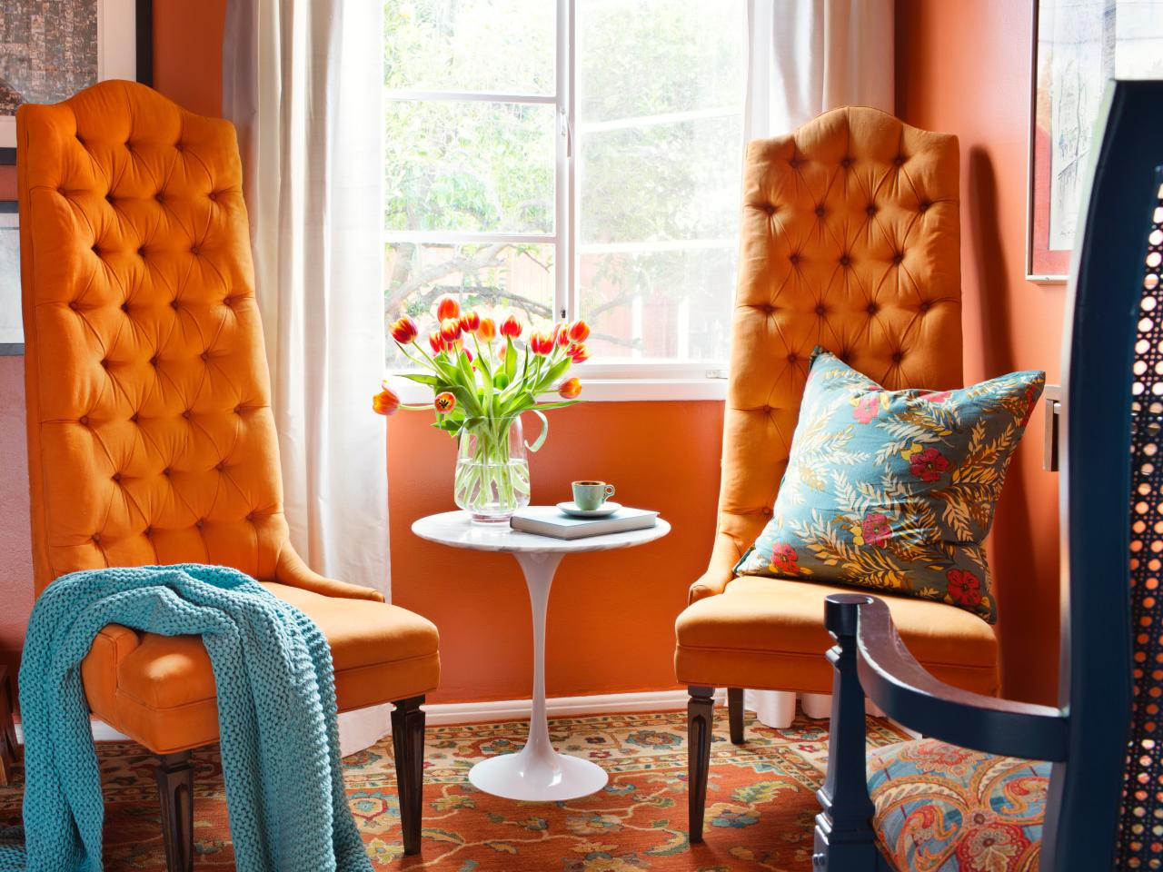 Vibrant Orange Sitting Room
