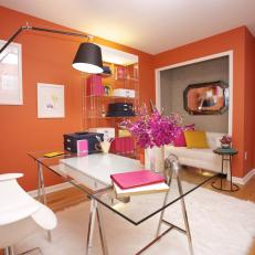 Contemporary Orange Home Office With White Flokati Rug
