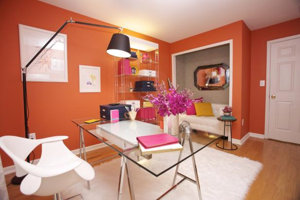 Orange Office With Glass Desk, White Chair, Reading Nook and White Rug