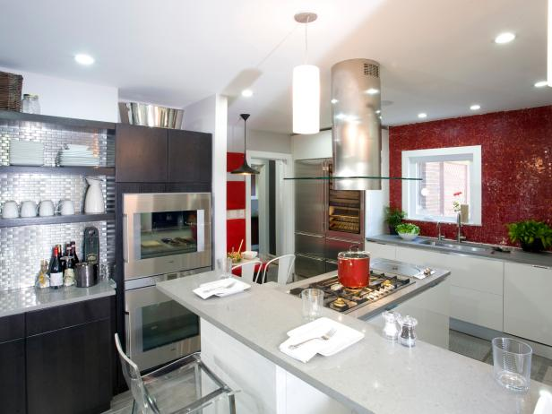 Contemporary White Kitchen With Red Tile Backsplash