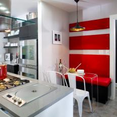 Dining Nook With Banquette & Bold Stripes