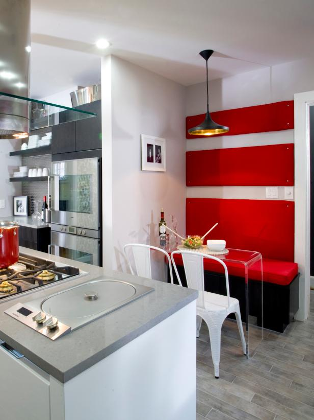 White Kitchen With Built-In Bench & Cherry Red Wall Panels