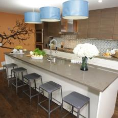 Contemporary Kitchen With Tree Decal