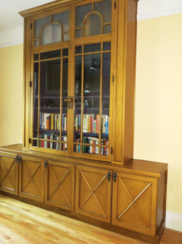 Wood Entertainment Center with Hutch