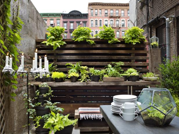 City Garden With Salvaged Wood Wall and Potting Table