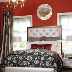 Contemporary Red Bedroom Silver Metallic Accents