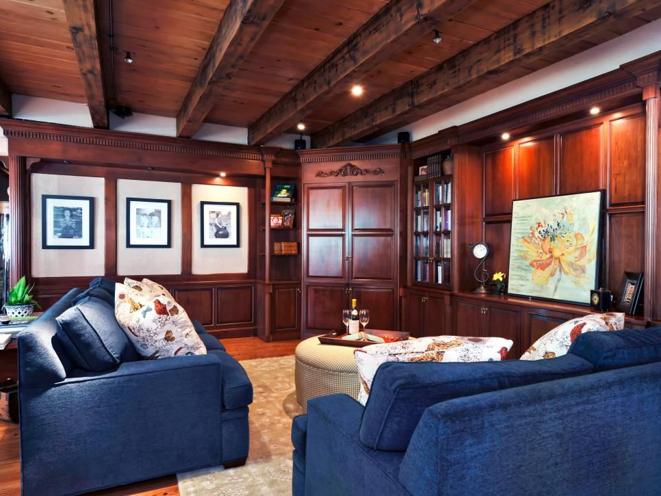 Traditional Living Room with Custom Blue Sofas and Wood Cabinets