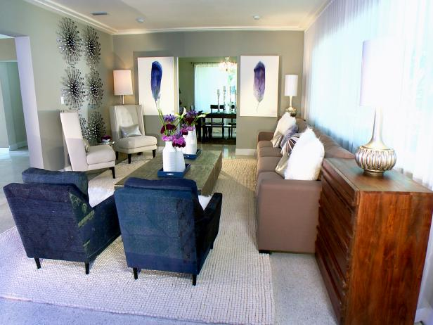 Contemporary Living Room With Navy Accent Chairs Hgtv