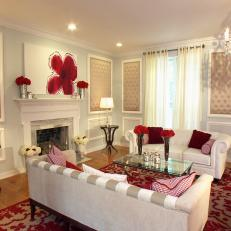 Traditional Living Room With Romantic Red-and-White Color Scheme