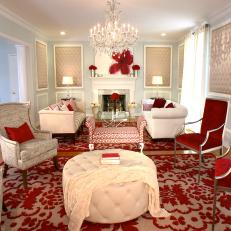 Eclectic Living Room With Red Accents
