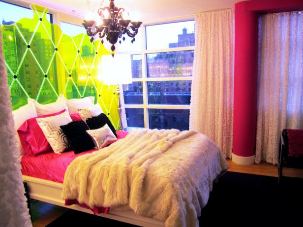 Pink Teen Bedroom With Faux-Fur Bedding