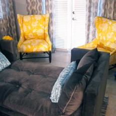 Bold Yellow Patterned Wingback Chairs