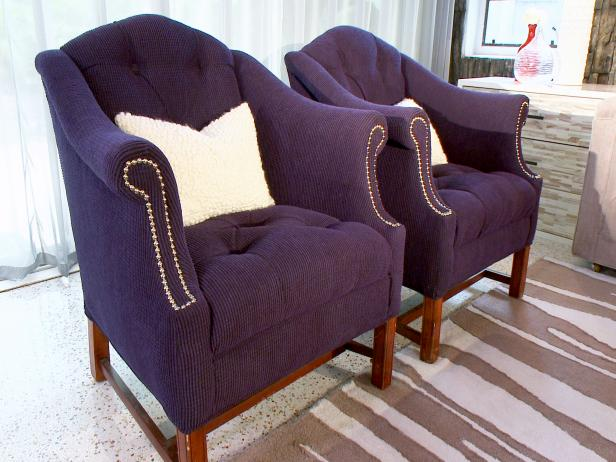 Gentil Two Matching Traditional Tufted Purple Armchairs With Nailhead Detail