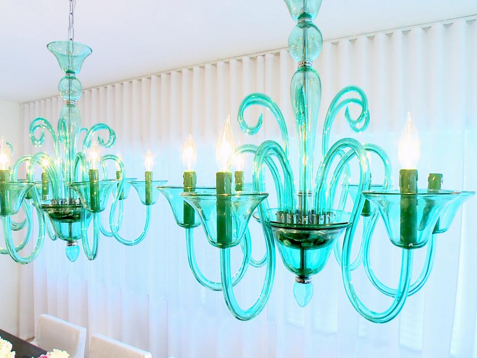 Detail Photo of Green Glass Chandeliers