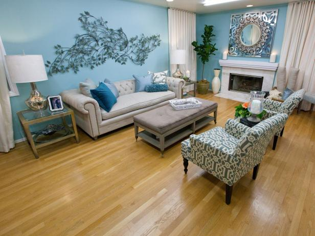 Blue Living Room With Nature-Inspired Wall Art | HGTV