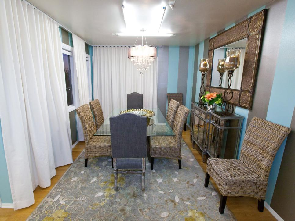 Blue Transitional Dining Room