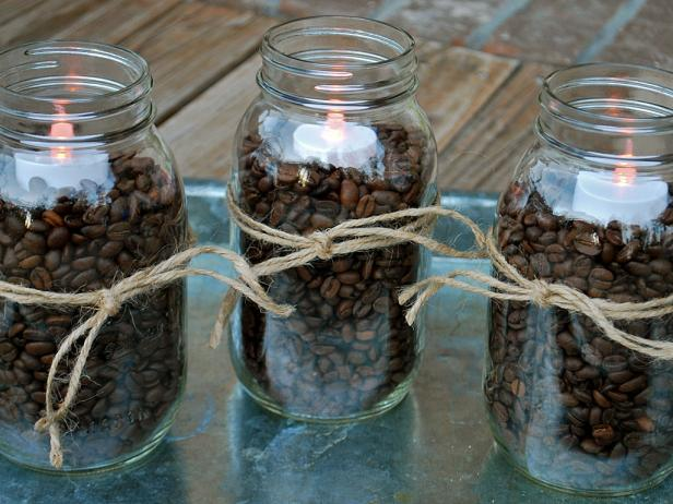 Coffee beans and tea lights in jars