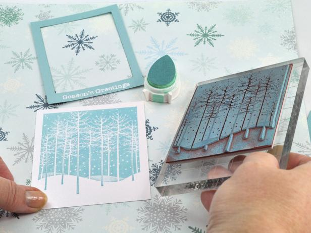 Stamp Card for Falling Snow Holiday Shaker Card