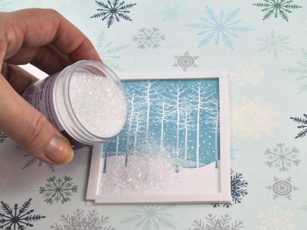 Add about one teaspoon of chunky glitter to inside cavity of shaker before removing the tape liner. Tip: If frame contains too much glitter, it will not shake well.