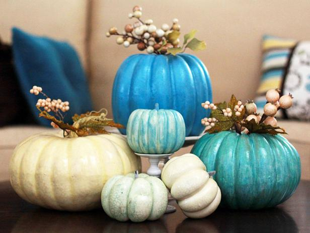 Pumpkins Painted in Various Shades of Blue