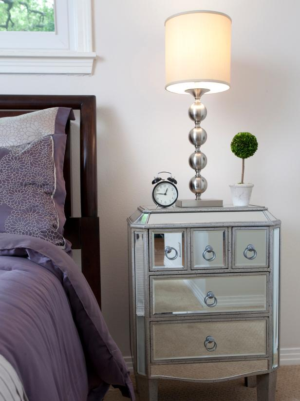 Transitional Bedroom With Mirrored Nightstand
