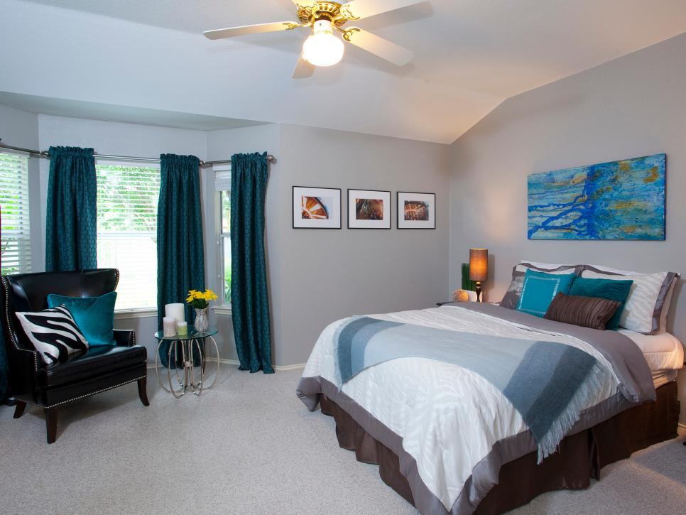 Contemporary Master Bedroom with Blue Throw, Pillows, and Curtains