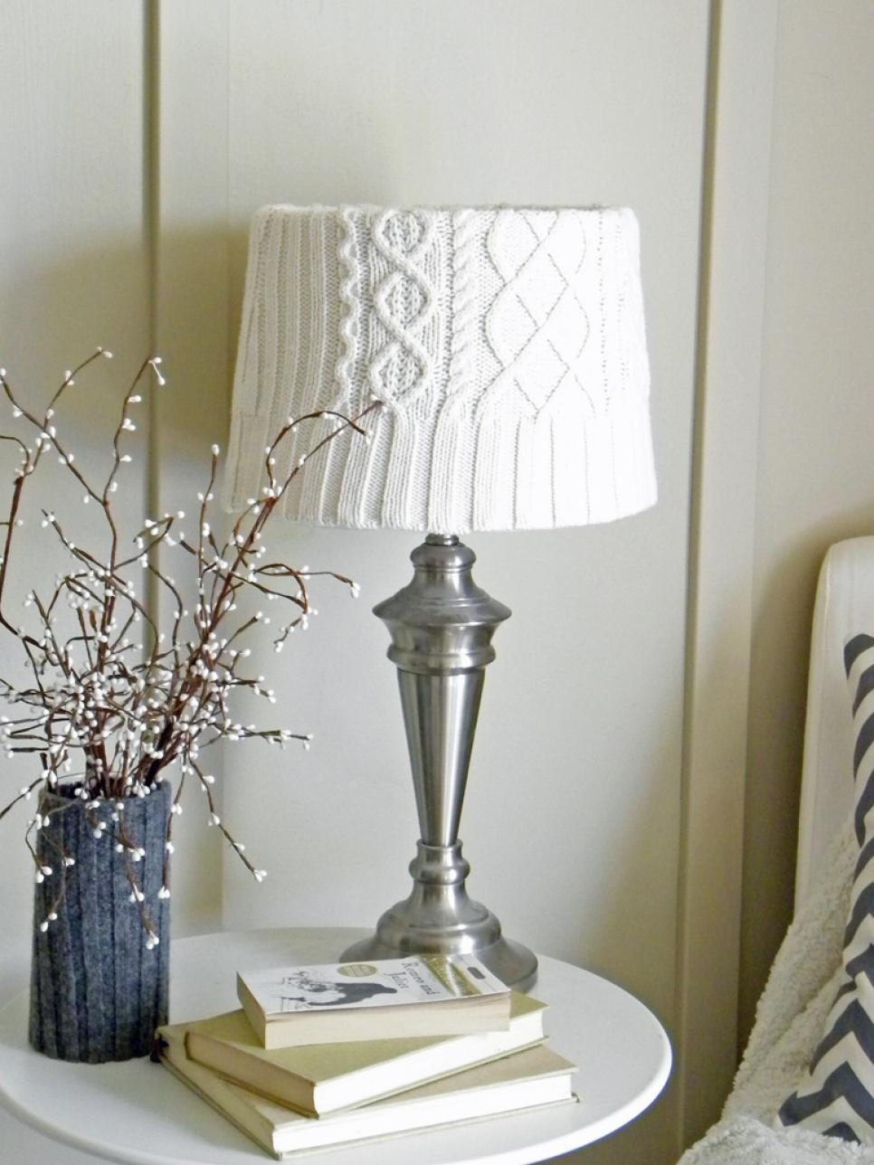 White Sweater-Covered Lampshade for Winter
