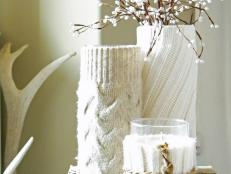 Wintry Sweater-Covered Vases and Candles