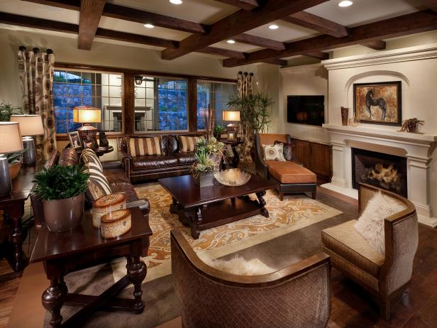 Traditional Living Room With Masculine Finishes Hgtv