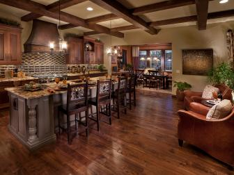 Roomy, Rustic Kitchen With Hardwood Floors, Coffered Ceiling and Bonus Seating Area