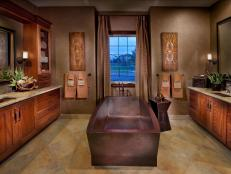 Traditional Bathroom With Stone Tub