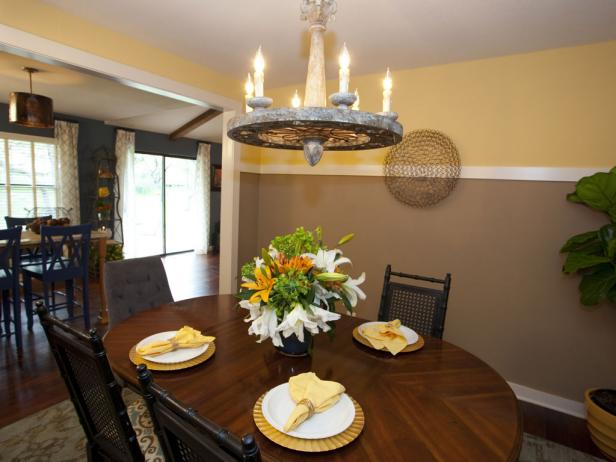 Brown and Yellow Dining Room