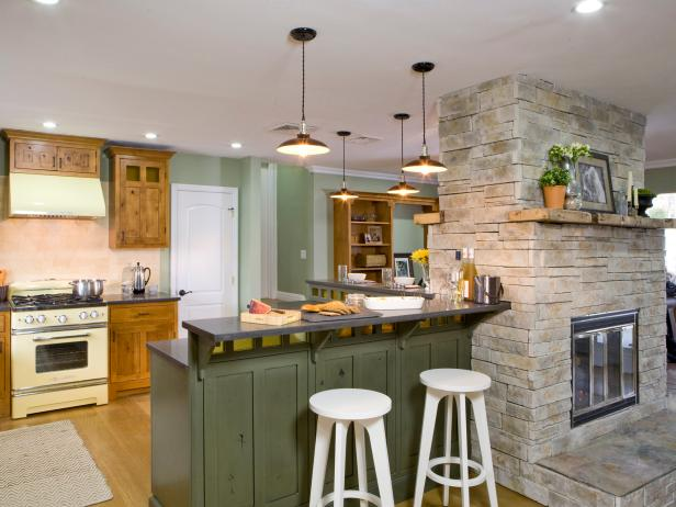 Painted Green Kitchen Island With Pendant Lights Hgtv
