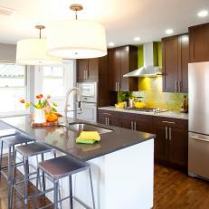 Lime Green Backsplash In Open Kitchen