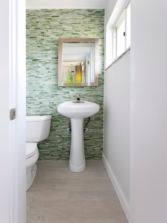 Contemporary White Powder Room With Green Glass Tile