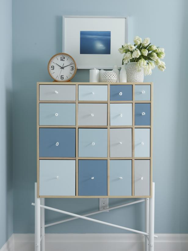 Blue Contemporary Craft Room With Custom-Painted Dresser