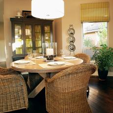 Breakfast Area With Round Table and Wicker Chairs