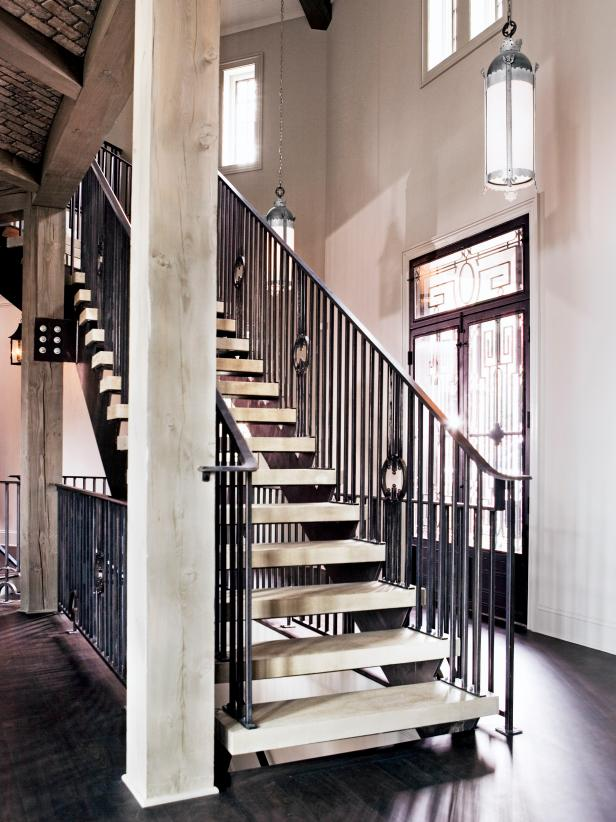 Interior Staircase with Wrought Iron Railings