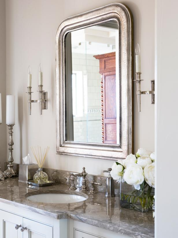 Transitional Bathroom With Silver Mirror