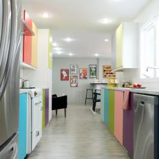 Modern Kitchen With Retro-Inspired Rainbow Cabinets