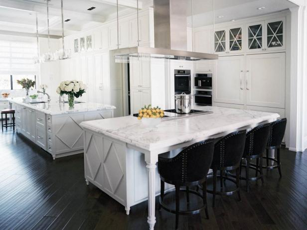 Traditional All-White Kitchen With Two Islands