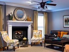 Gray Transitional Living Room With Large White Mantel